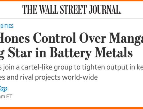 WSJ labels Manganese 'rising star in battery metals'